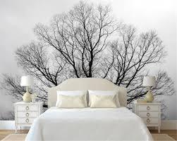 Beibehang Custom Tapete Schwarz Weiß Bäume Bäume Wandbild Tv