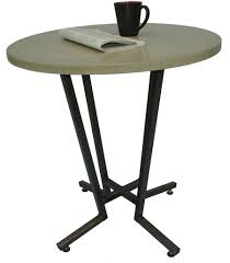 concrete round cafe table with footrests