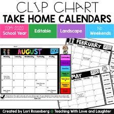 Editable Behavior Calendars 2019 2020 School Year No Weekends Landscape