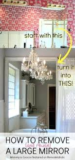 how to remove and reuse a large builder grade mirror on bathroom