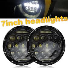Security Lights For Cars Us 96 78 35 Off 1x 75w 7 Led Headlight H4 H13 High Low Beam Round Cars Running Lights For Jeep Lada Niva 4x4 4wd Motorcycle Driving Offroad In Car