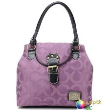 Purple In Coach Buckle Signature Medium Satchels