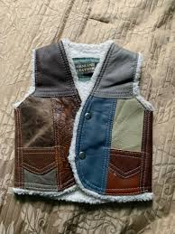 toddler 2t genuine leather vest sherpa lined cow fur patchwork size 2