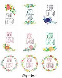 Free Printable Favor Tags Free Printable Thank You For Helping Me Grow Gift Tags