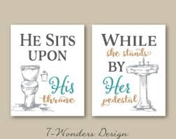 his and hers bathroom set. his her bathroom wall art prints set of (3) 5x7 or 8x10 sizes, and hers
