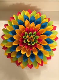 Made Flower With Paper Made This Colorful Decoration For My Sons Mickey Mouse