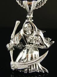 14k grim reaper skull white gold diamond pendant