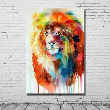 2018 beautiful oil color abstract lion art painting hand made canvas oil painting living room wall decor modern animal pictures no framed from