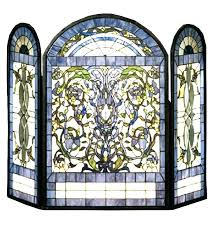stained glass fire screens fireplace screen and door decorative