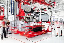 tesla factory embly line
