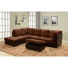 chocolate brown microfiber and faux leather left chaise sectional with storage ottoman sh107a the home depot