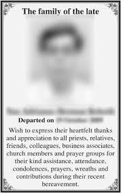 Newspaper Obituary Template Obituary Templates Singapore Obituary Services