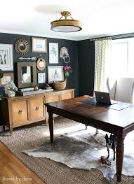 gallery home office desk. Home Office With Charcoal Gray Walls And Eclectic Gallery Wall Above A Credenza Desk C