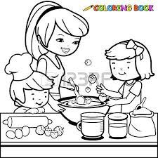 Small Picture Mother And Children Cooking In The Kitchen Coloring Book Page