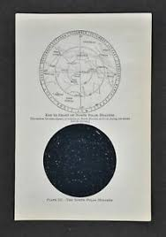 Details About 1897 Star Map North Polar Hemisphere Sky Chart Polaris Astronomy Telescope