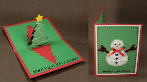 Diy Christmas Cards How To Make Diy Pop Up Christmas Card With Tree And Snowman Youtube