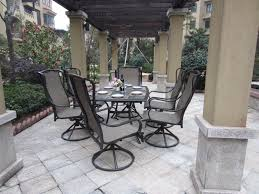 great swivel patio chairs outdoor patio dining furniture sling 7pc set bronze aluminum steel patio design