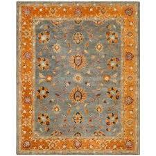 heritage blue orange 8 ft x 10 ft area rug