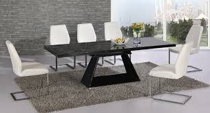 glass extending dining table and 6 chairs. black glass extending high gloss dining table and 6 white chairs set g