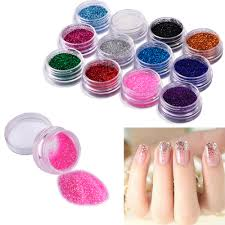 12 Color Nail Glitter Powder Decor Nail Art Powder Sparkly Dust ...