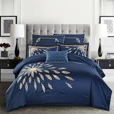 2017 new 100s blue bedding sets embroidery horse bed linen duvet cover bed sheet pillow case