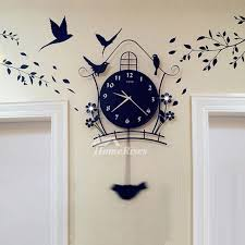 decorative wall clocks regarding black illuminated pendulum metal hanging decor 18