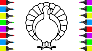 How To Draw Turkey Easy Coloring Pages For Kids Learn How To