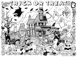 Small Picture Halloween haunted house trick or treat Halloween Coloring