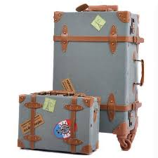 vintage luggage. get quotations · new women denim vintage luggage travel suitcase universal wheels trolley bag 22\ u