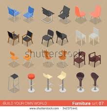 creative furniture icons set flat design. Office Home Bar Restaurant Furniture Set 07 Chair Seat Armchair Stool Lounge Element Flat 3d Isometry Creative Icons Design