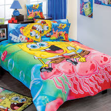 Small And Narrow Teenage Bedroom Design With Spongebob Squarepants Bed  Cover Theme And Hardwood Floor Tiles Ideas