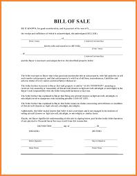 Simple Bill Of Sale Resume Name