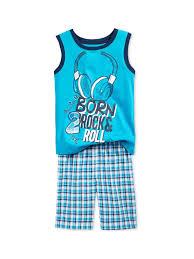 Nannette Baby Clothing Size Chart Nannette Boys Rock Roll 2 Piece Tank Top Set Blue 6 Little Kids 4 7