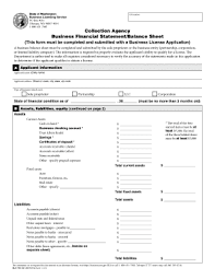 Online Balance Sheet Fillable Online Bls Dor Wa Collection Agency Business