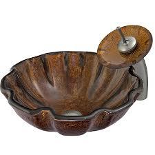 vigo vessel sink faucet set walnut shell glass vessel round bathroom sink with faucet