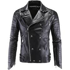 Designer Black Leather Jacket Us 63 34 German Designer Skull Rivet Studded Punk Rock Black Biker Leather Motorcycle Jackets Men Plus Size 4xl 5xl In Faux Leather Coats From Mens