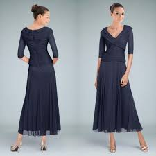 mother dresses for weddings. new arrival dark navy tea length mother of the bride dresses with sleeve a-line for weddings