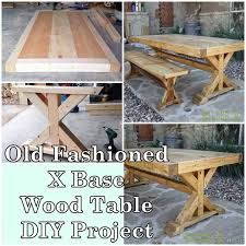 come look at the step by step tutorial of how to build an old fashioned x base wood table diy project as a way to inexpensively create homestead furniture