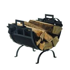 decorative firewood rack with removable canvas tote