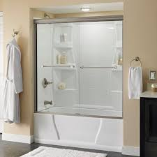 delta crestfield 60 in x 58 1 8 in semi frameless sliding bathtub door in nickel with clear glass 158729 the home depot