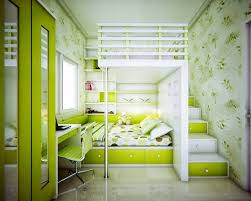 contemporary attic bedroom ideas displaying cool. Amusing Green Paint Color Wall Schemes For Kids Bedroom Decorating Ideas Displaying Cool Leaf Wallpaper With Loft Beds Which Has Storage Drawers Built In Contemporary Attic