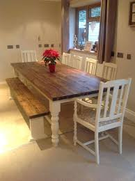 rustic farmhouse shabby chic solid dining table bench and 6 chairs 10 seater set belinda corner