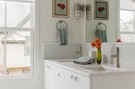 modern bathroom backsplash. Bathroom Backsplash Ideas Modern With Brushed Chrome Fixtures Kohler. Image By: KMarshall Design Inc A