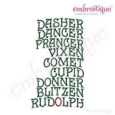 Embroitique Reindeer Names Embroidery Design