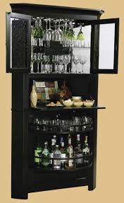 Curved Corner Bar Cabinet Design With Horizontal Stripped Railing - Home bar cabinets design