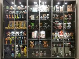 display of ikea glass shelves