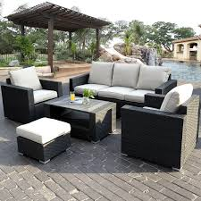 patio white rattan with white cuhsion wicker patio set for modern