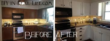 white painted kitchen cabinets before and after. DIY In Real Life.com: Kitchen Before/After White Painted Cabinets Before And After N
