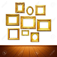 antique golden frames on the wall art gallery objects group on white background stock on wall frames art gallery with antique golden frames on the wall art gallery objects group