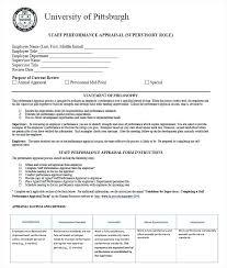 Staff Performance Appraisal Template Job Employee Evaluation Form